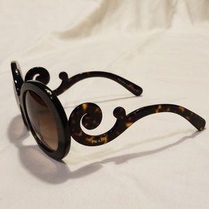 Prada Baroque Round Tortoiseshell Sunglasses